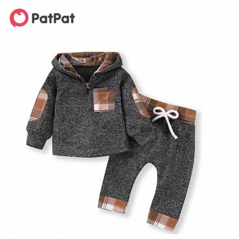 Patpat 2020 Nuevo casual del algodón del otoño invierno recién nacido a cuadros con capucha costura camisa de manga larga traje de pantalones de traje n3Kk #
