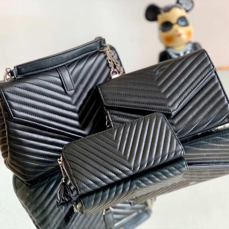 Borsa trapuntata nera della borsa di modo di Crossbody donna busta Borse a tre pezzi Flower Bag Lady Shoulder Bag Catena Portafoglio Coin Purse