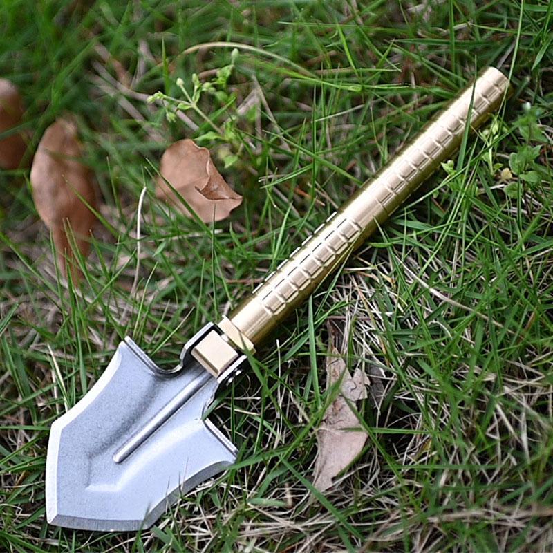 Открытого Brass портативного Mini Multi EDC лопата Инженер копание Садоводство Лопата складная лопата с ножом Компасы Tool
