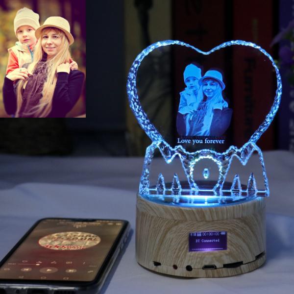 Mom Gift - Foto de bricolaje LOGO LED luz de la noche de madera de cristal Base Foto Música MP3 Pantalla giratoria de la lámpara RGB control remoto Bluetooth para el regalo