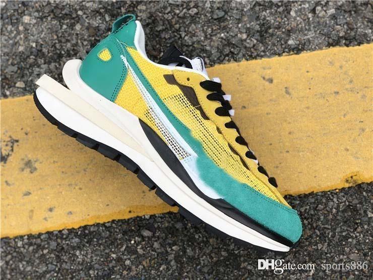 Mejor Nueva auténtica Sacai Pegasus VaporFly SP hombres de los zapatos corrientes de cuerda Negro Villain Red de Neptuno hombre verde zapatillas de deporte con la caja
