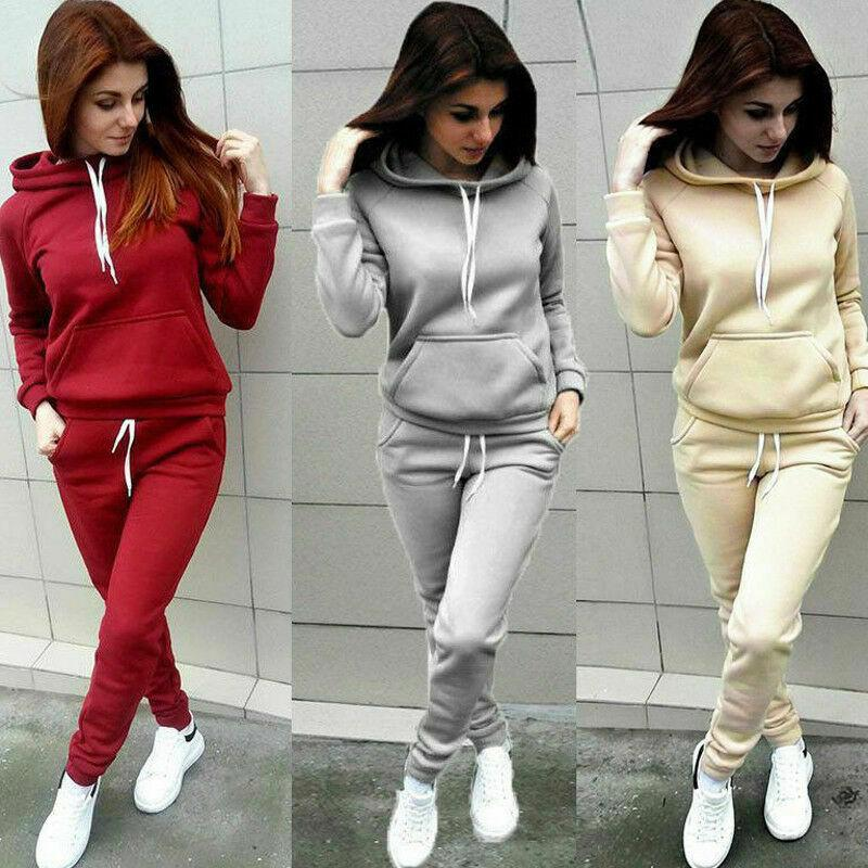 Two Piece Dress 2021 Autumn Winter 2 Set Women Hoodie Tops Pants Tracksuit Pullover Sweatshirt Trousers With Pockets Suits