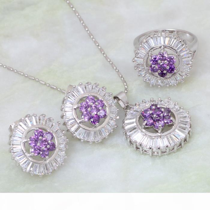 Nuovo arriva! Monili di modo regolano gioielli in argento placcato Set Intarsi Amethyst ciondoli anello orecchino S042