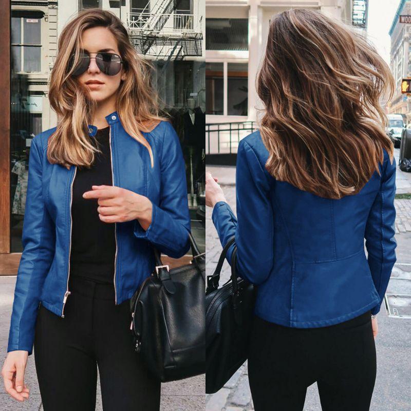 Frauenjacken 2021 Herbstjacke Frauen Reißverschluss Freizeit Mantel PU Leder Outwear Mode Kurz Dünn Frau
