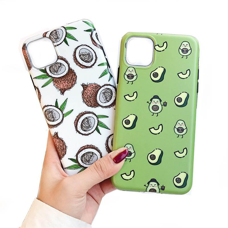 Cartoon Fruit Avocado Phone Case For iPhone 11 PrXS Max 7 8 6S Plus Case Full Body Soft IMD Phone Cover 390