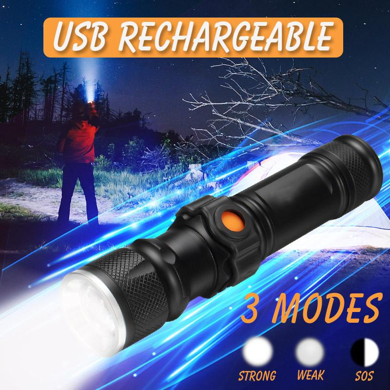 T6 USB Rechargeable LED 10X zoom Power Work Spot Light Lamp