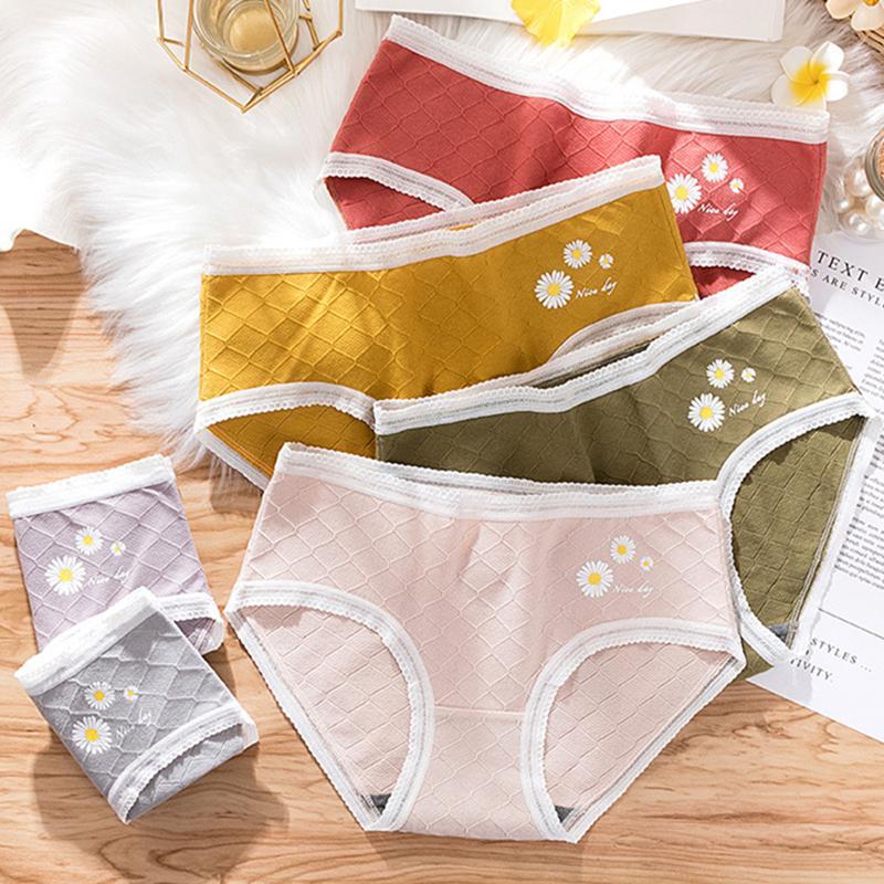 Frauen kleine Daisy mittlere Taille der Unterwäsche mit Bauch und Hüfte Hebebaumwollunterwäsche Graphens antibakteriellen dünn und atmungsaktiv