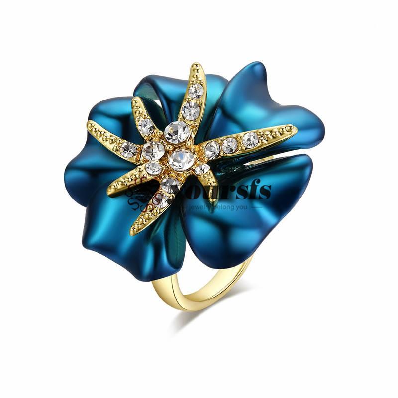 Yoursfs Ринс горячая распродажа уникальный мода ювелирные изделия 18 к позолоченные использования SWA Кристалл синий цветок Морская звезда мода коктейльные кольца ювелирные изделия R128R1