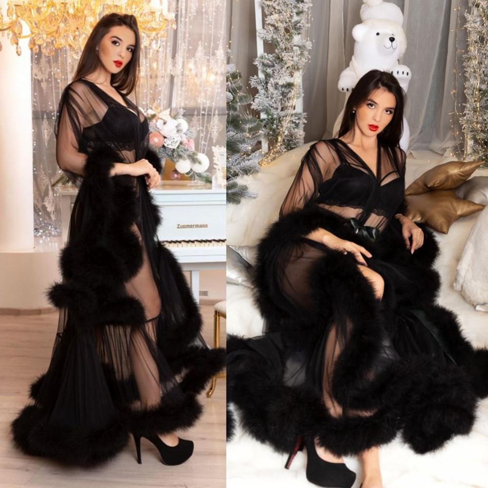 2021 Womens Black Wraps Sexy Faux Peles Senhora Sleepwear Mulheres Inverno Bathrobe Sheer Camisola Comprimento do Assoalho Robe Shawel