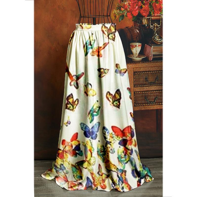 FLOWER SKY Frauen lange Rock-Frauen-Weinlese A-Linie mit hohen Taille Färben Druck Schmetterling druckt Plissee Ausgestelltes Mode Maxiröcke