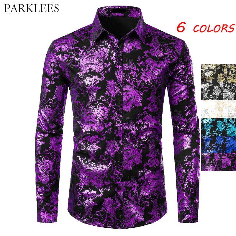 Фиолетовый Mens Цветочные Бронзировать рубашка Мужчины Блестящий цветок Мужчины Рубашка Дизайнерская партии Mens рубашки платья вскользь клуб Камиза Masculina