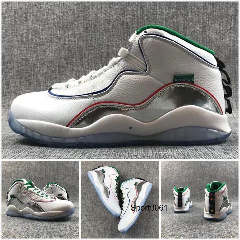 Nueva Jumpman 10 zapatos de baloncesto de los hombres Negro Cromo retro alas 4 del trébol blanco zapatillas buenas Qaulitys Jumpman 10s verde de deportes de plata Trainer