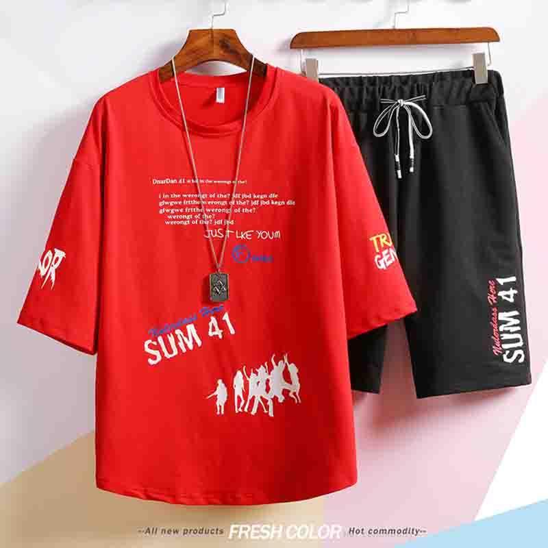 dos homens Fatos Designer 2020 Summer Fashion New Mens letra Impressão Duas peças Suits Casual Men respirável Terno 4 cores Plus Size M-3XL