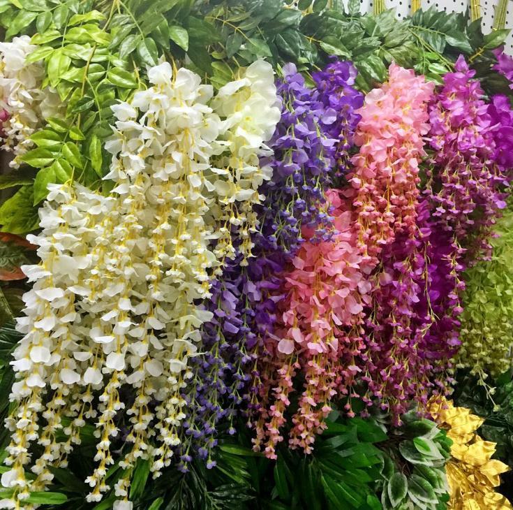 Decor 110 centimetri Wisteria Wedding 6 colori artificiali decorativi Fiori ghirlande per casa festa di nozze per trasporto libero