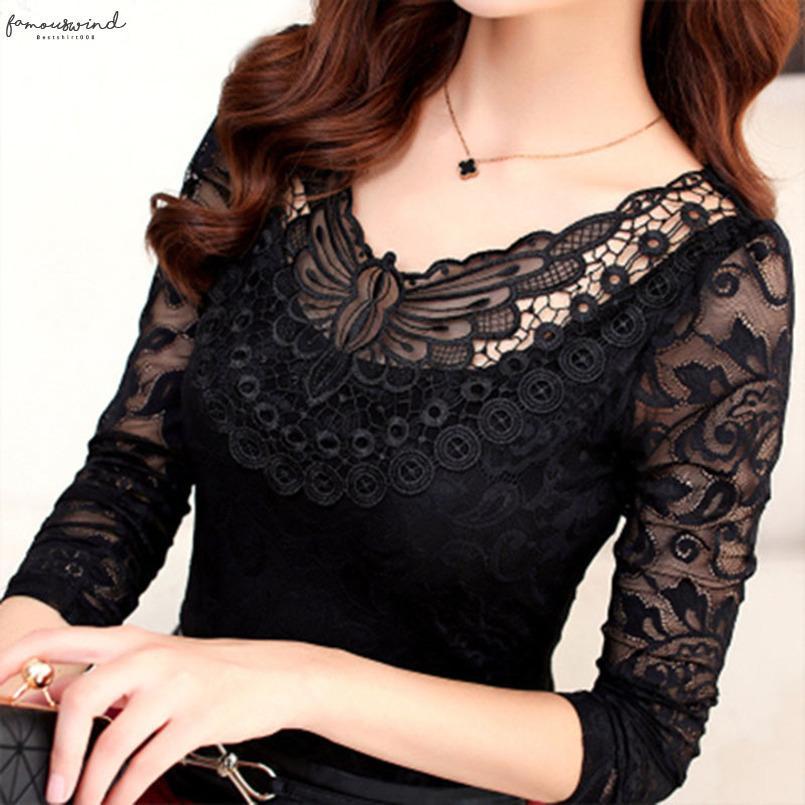 S 5XL Artı boyutu İlkbahar Yaz Moda Kadınlar Şık Dantel Bluz Gömlek Uzun Kollu Seksi Üst Kadınlar Artı boyutu Giyim Df2313