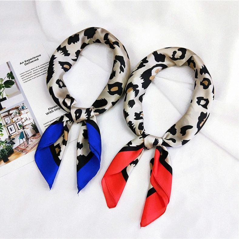 70x70 imprimé léopard carrés Foulard en soie femmes Foulard multifonction tête multicolore imprimé rayures Mouchoir cou Shawl Wrap wXSH #