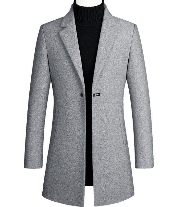 Designer Herren Wolle Trenchcoat Single Button Mode Winter-Business Long verdicken Slim Fit Overcoat Jacke Parka Herren Kleidung Plus Size 4XL