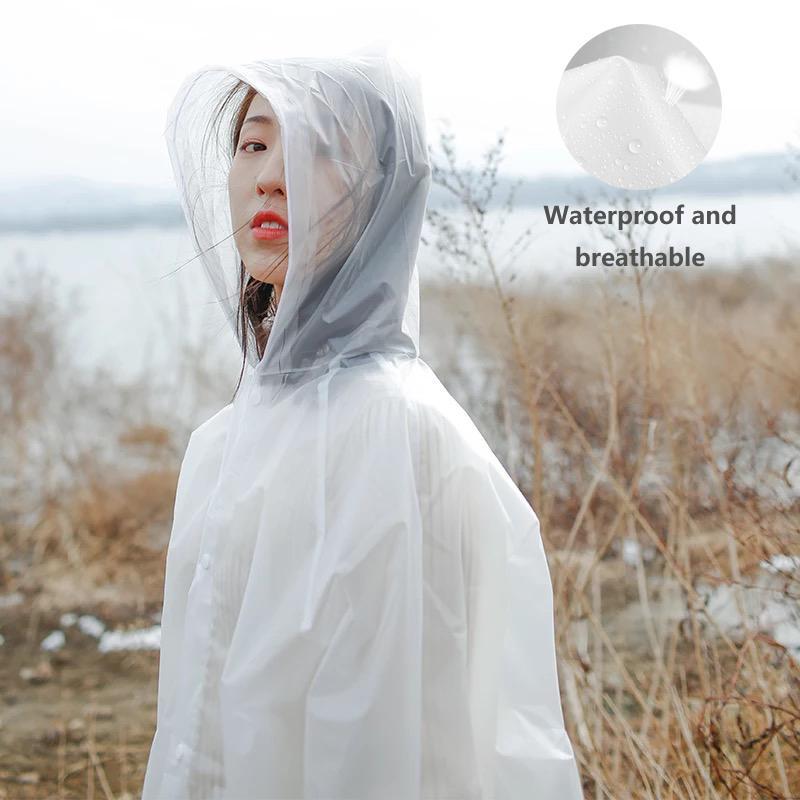 Tragbare Transparent Raincoat Adult Außenklettereinweganzug mit Kappe Thick Einzel Wandern Poncho Kunststoff Regen Cover
