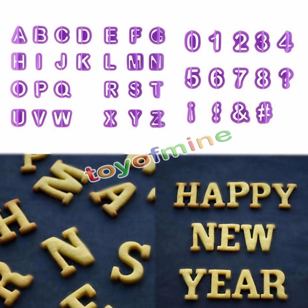purple Alphabet Number Letter Fondant Cake Decorating Set Icing Cutter Mold or cookie