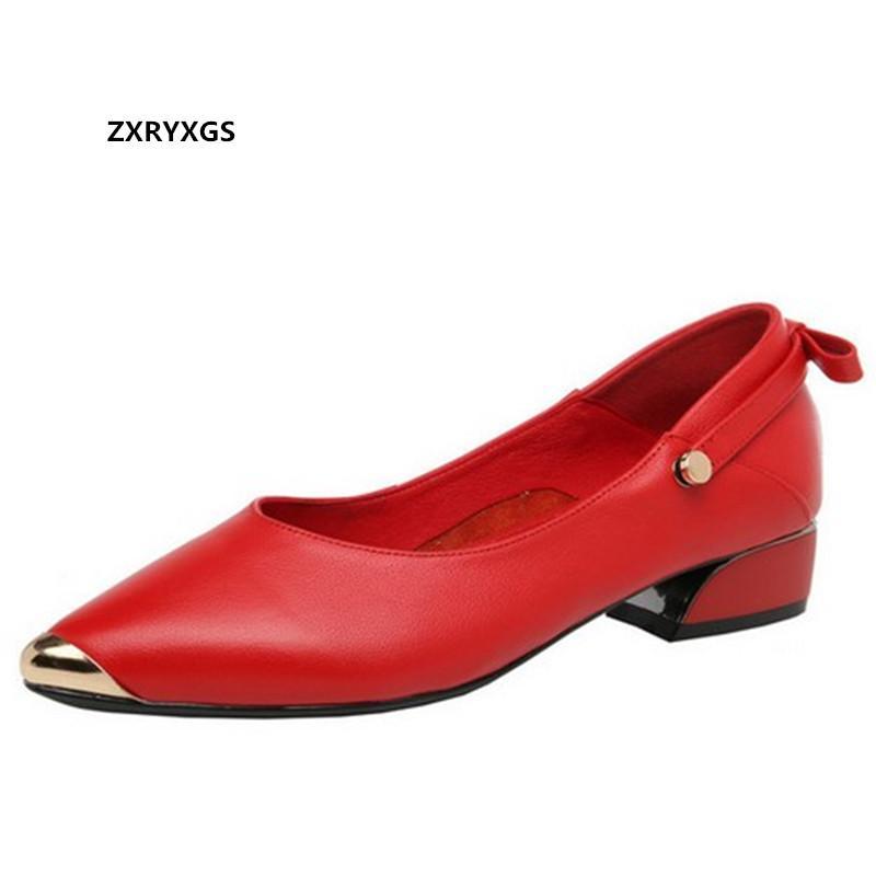 Yeni Sonbahar Sığ Ağız Sivri Burun Ayakkabı Kadın Düşük Topuklar En inek derisi Deri Ayakkabı Basit Yumuşak Sole Büyük Beden Kadın