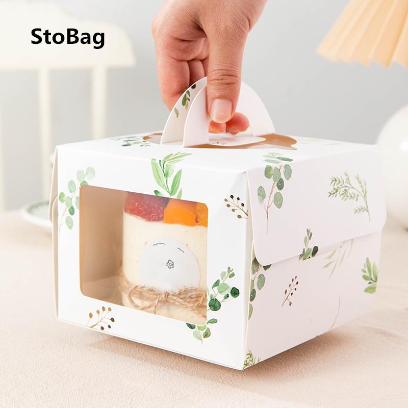 Patisserie Ambalaj STOBAG 10pcs 4inch ile Penceresi Taşınabilir Kek Kutusu Doğum Bebek Favor Kalınlaşmış Taban El yapımı Hediye