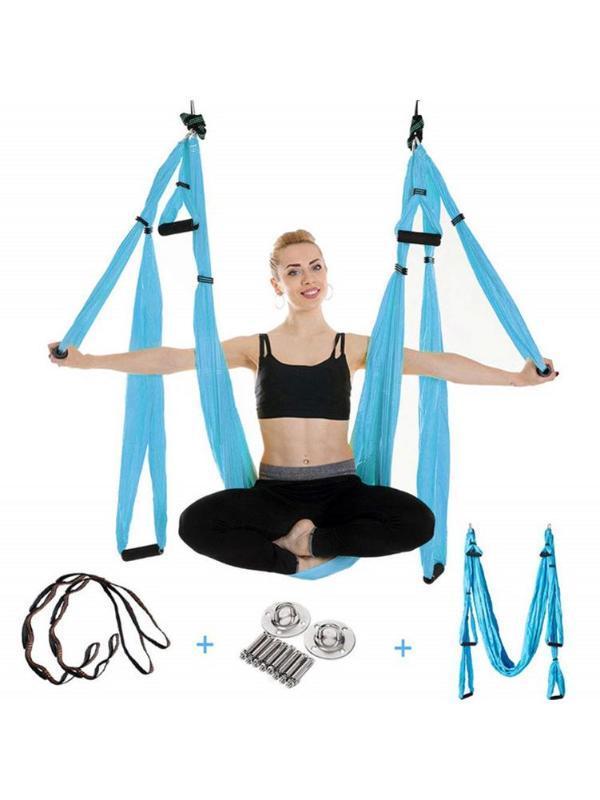 Aerial Yoga Качели Set Йога Гамак Sling Kit с удлинительными ремнями и карабином и другими аксессуарами для начинающих