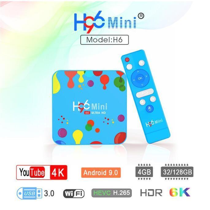 H96 Mini Android 9.0 TV Box Allwinner H6 Dört Çekirdek 4GB 32GB 6K Wifi BULETOOTH tarihinde Oyuncu Youtube Seti üstü kutusu