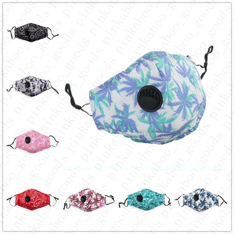Adultos algodão contra pó máscara facial com respiro válvula e pocket filtro camo floral impressão Unisex Boca Máscaras anti Haz Poeira