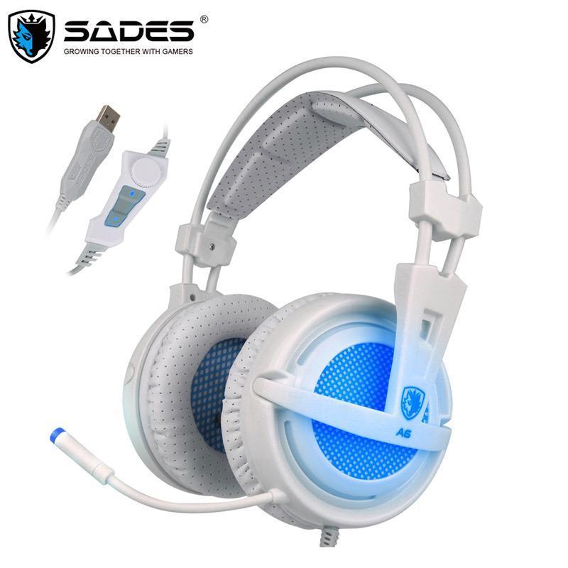 SADES USB 7.1 auricular auriculares estéreo con cable de juego de juego sobre la oreja con el control del micrófono de voz para el jugador ordenador portátil