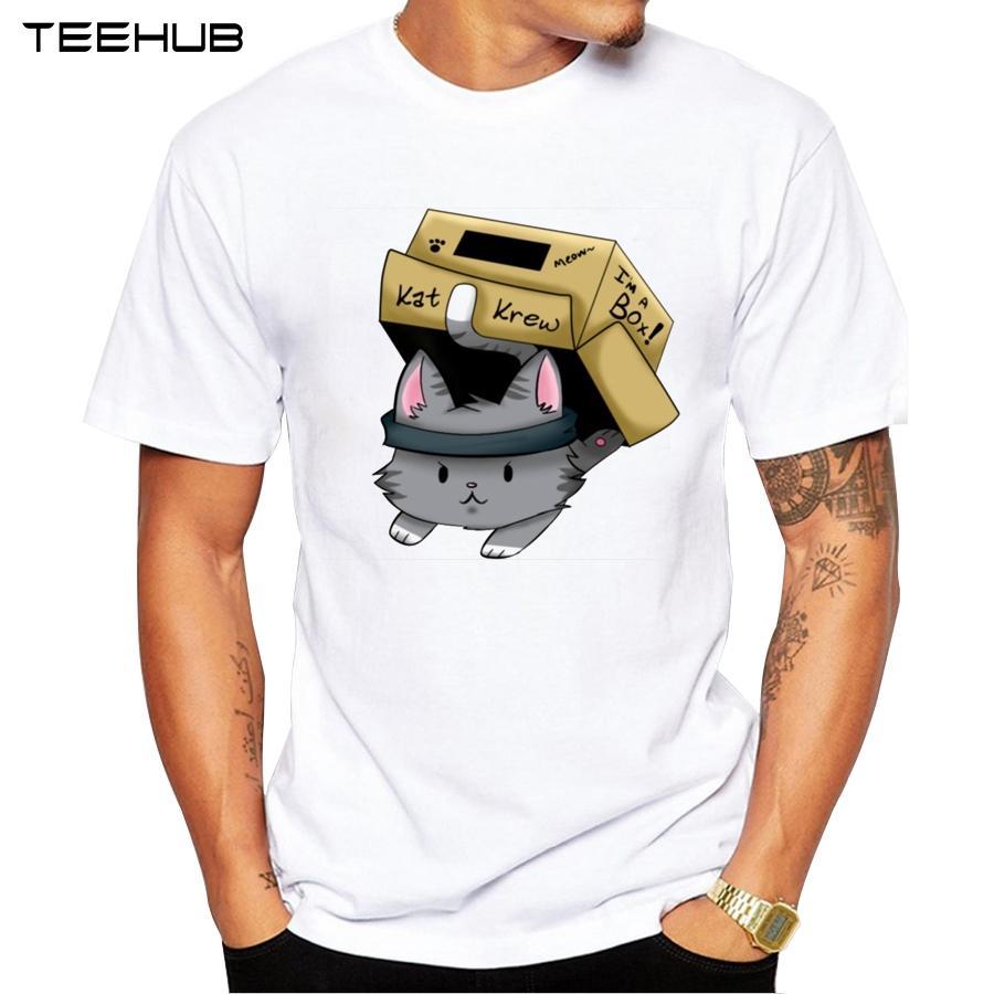 Cat In A Box T-Shirt 2019 Estate manica corta T Shirt Moda Solid gattino stampato Tee O-Collo Casua; Top
