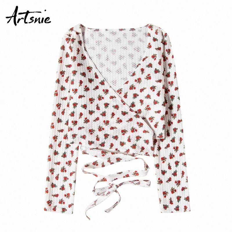Artsnie Branco Floral Imprimir V Neck T Shirt Mulheres Summer Long Sleeve Lace Up Cortar Tops Streetwear Casual colhido camisetas Femme Camiseta kQMU #