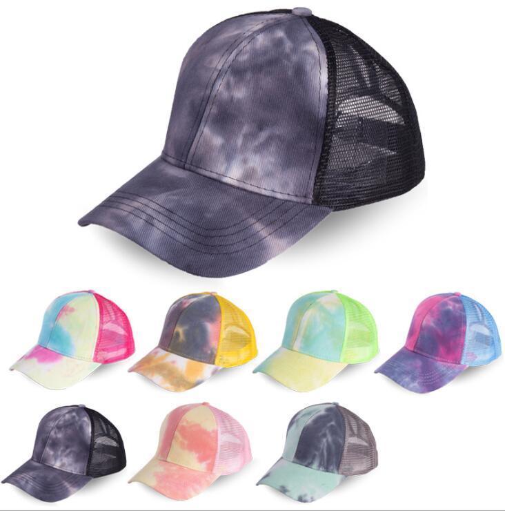 Kadın Spor Şapkalar Moda Batik Mesh at kuyruğu Beyzbol Bayan 7 Renk için Ayarlanabilir Açık Güneş kremi Snapback Caps Caps