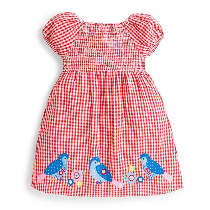 Poco Maven nuova estate di bambini dolci plaid rosso stampato Uccelli ricamo O-collo Lanterna manica ragazze 2-7yrs cotone dei vestiti in tessuto
