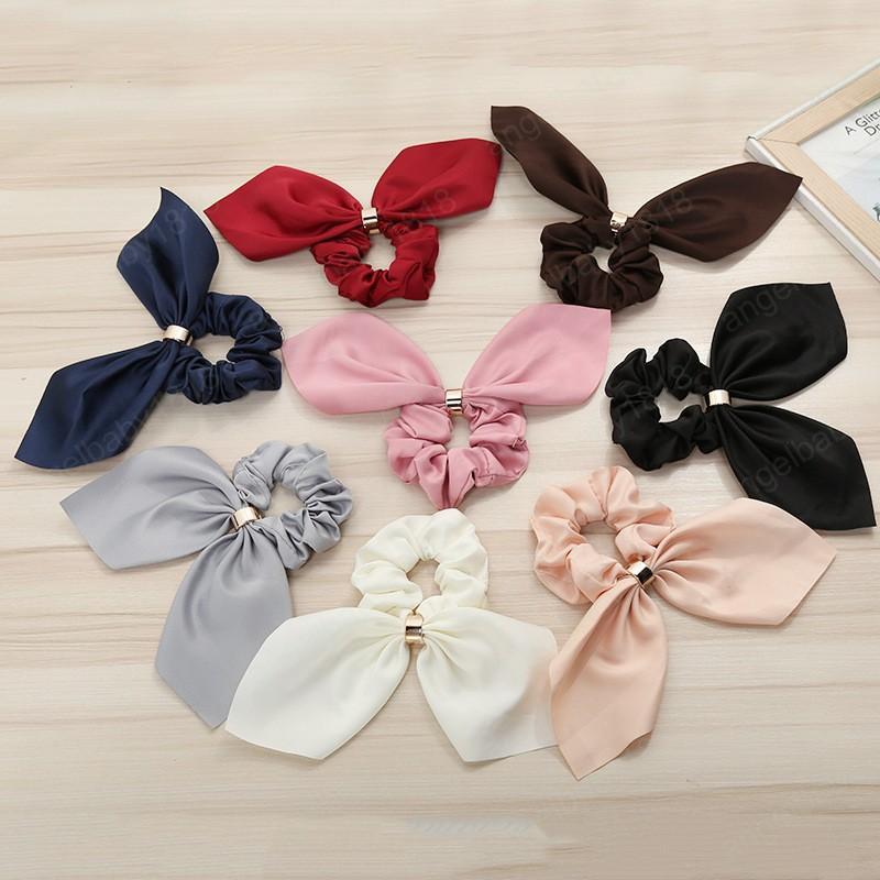 Kızlar İnci ilmek Scrunchies Elastik Saç Halat Bow Kravatlar at kuyruğu Tutucu hairband için yüksek kaliteli basit moda Saç Bantları