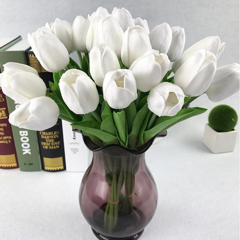 인공 꽃 미니 튤립 실크 인공 꽃 웨딩 장식 인공 꽃 꽃다발 홈 정원 장식 튤립 선물 DHB478