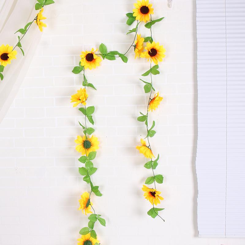 flores artificiales de seda de caña de girasol flores falsas pared de la vid decoración girasol corona de jardín de la boda decoración de flores colgantes de mimbre Garland