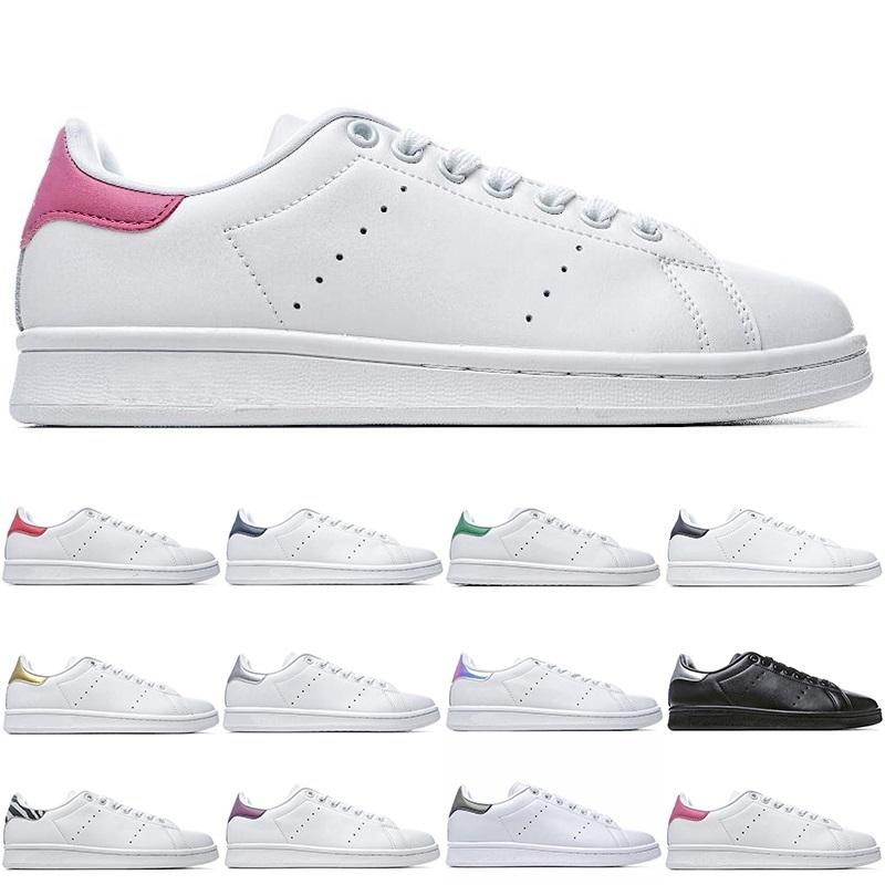 Smith Fashion Casual Shoes For Men Women Flat Shoes High Quality Black Navy Blue Red Green All White Sliver Pink Sneakers Size 5-11