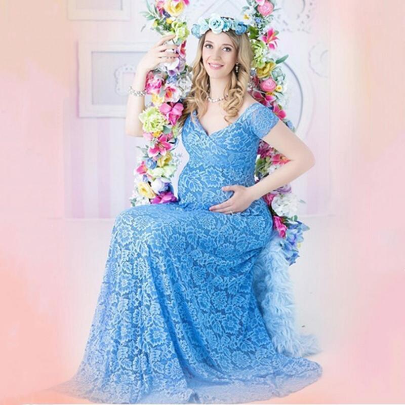 Платья для беременных беременных Мать V-образным вырезом Платье Pog Pog Pograpers Женщины Беременность Одежда Кружева для PO Съемки одежды