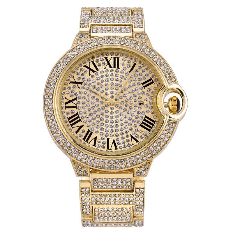 أزياء الرجال النساء زوجين الذهب ووتش التسلق الماس كامل مثلج مصمم الساعات الفولاذ المقاوم للصدأ حركة الكوارتز هدية سيدة الساعات