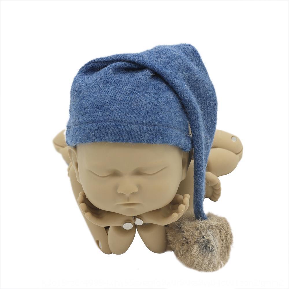 الوليد الملابس التصوير طفل صورة لطيف شكل الطفل قبعة الفراء الكرة محبوك طويلة الملابس المطاط الكرة قبعة قبعة الذيل