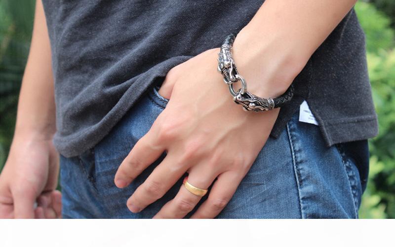Pop titanio acciaio USpecial calda doppio rubinetto braccialetto di cuoio di drago in acciaio inox cinturino in pelle italiana colata rubinetto regalo di amore braccialetto