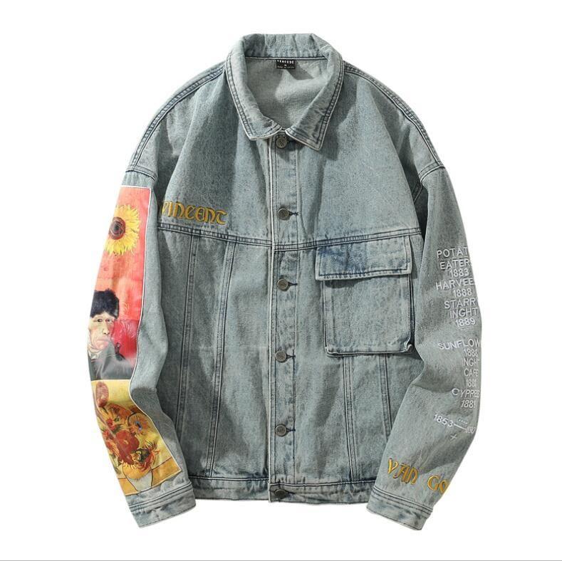 Hip Hop Denim Jackets Streetwear Van Gogh Bordado Denim Jacket Brasão Harajuku solto Vintage Mulheres CX200728
