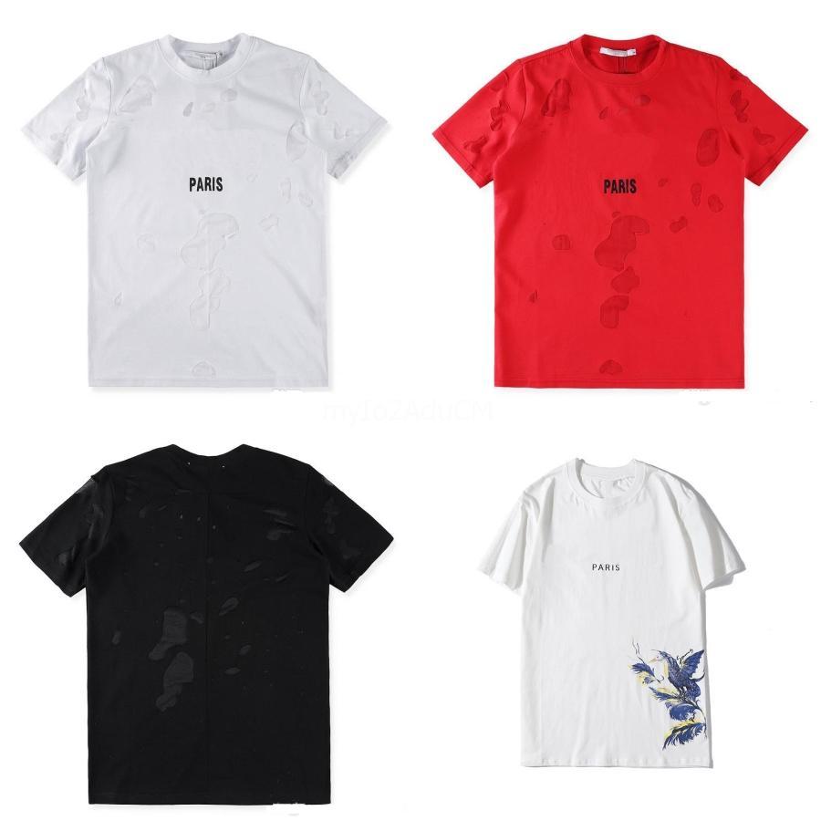 2020Ss Cotton luxo casual manga curta Sun Carta Flor Imprimir Men T Shirt O-Neck Arrefecer Street Style Homens T-shirt Homens Masculino Camisetas Top # QA656