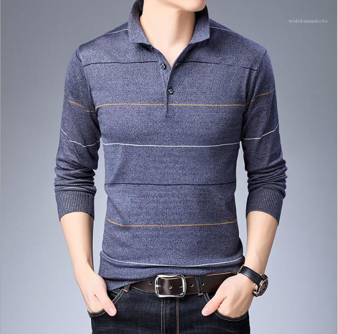 Весна осень с длинным рукавом полосатой Повседневная Tees Мода Мужской одежды New Mens 2020 Дизайнер Люкс Tshirts