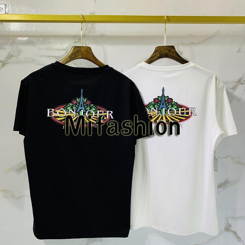 2020 Printemps Eté Luxe Europe France Paris Tour Eiffel Bonjour Tshirt Mode Hommes Femmes de haute qualité T-shirt décontracté Coton T