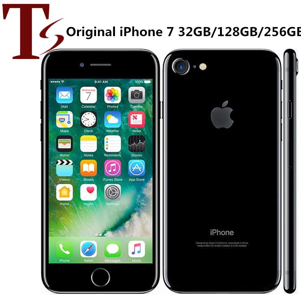 تم تجديده الأصلي Apple iPhone 7 4.7 بوصة بصمة ios 10 رباعية النواة 2 جيجابايت RAM 32/128 / 256GB ROM مقفلة 4G LTE الهاتف