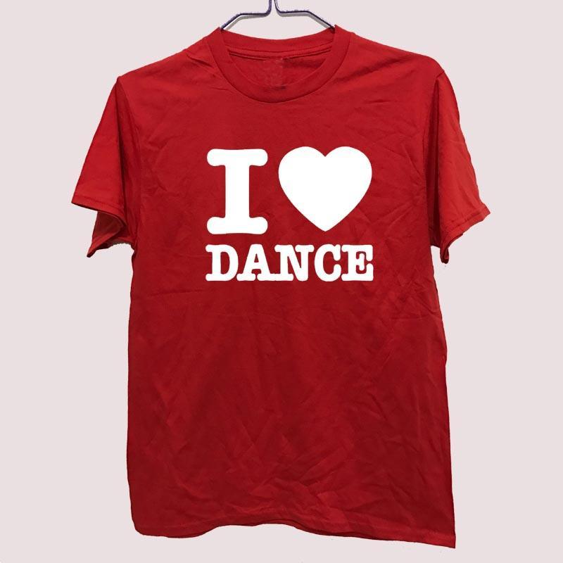 I Love Dance Yaratıcı Baskılı Erkek Erkekler Tişörtlü Tişört Moda Yeni Ç Boyun Pamuk Tişört Tee Camisetas