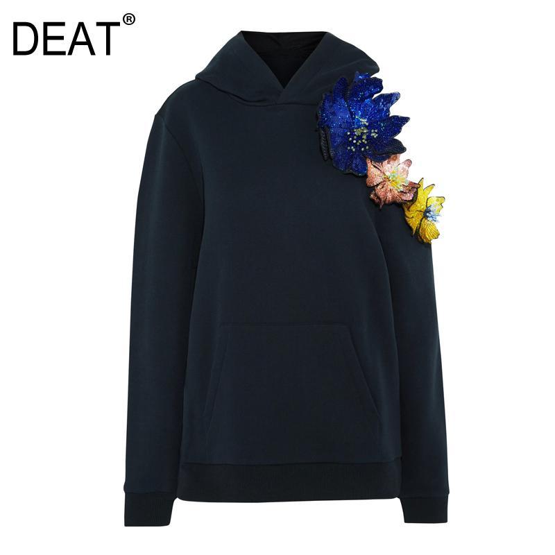 [DEAT] Сыпучие Fit бретелек Негабаритного Swearshirt Нового капюшон шея длинного рукав Женщина Большого размер Мода Tide Осень Зима 2020 13E064
