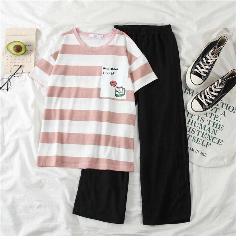 Summer Women Striped T-shirt Set 2020 New Fashion Casual Two-piece Set Female Student Korean Wide Leg Pants Short Sleeve Suit T200716
