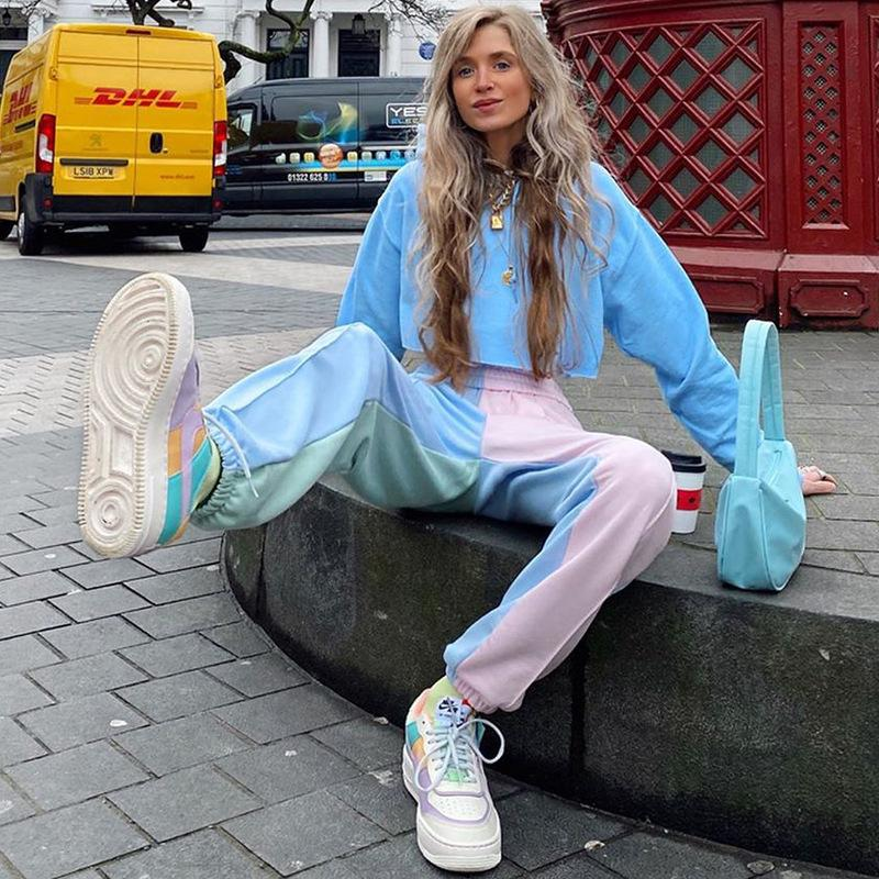 Pantaloni felpati donne jogging contrasto di colore pantaloni della tuta Donne Baggy Rosa Traccia Pantaloni Hip Hop Pantaloni signore Streetwear T200714